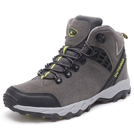 Nubuck Leather Lace-Up Round Toe Hiking Shoes