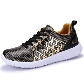 PU Color Block Geometric Round Toe Sneakers