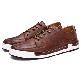 PU Plain Lace-Up Men's Causal Shoes