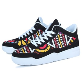 Geometric Nubuck Leather Round Toe Men's Sneakers