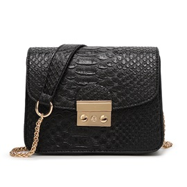 Hasp Decorated Croco-embossed Women's Shoulder Bag