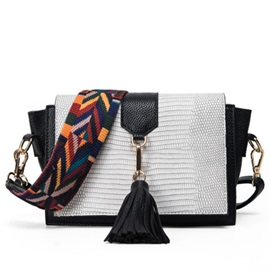Color Block Croco-Embossed Tassel Shoulder Bag