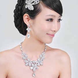 Hot Selling Alloy with Rhinestone Including Headwear, ( Necklace and Earrings )