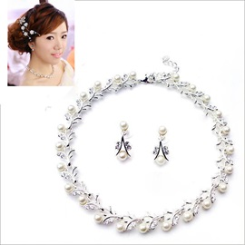 2014 New Gorgeous Pearl Bride Jewelry Set(Including Necklace and Earrings)