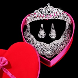 Elegant Round Rhinestone Wedding Jewelry Set(Include Tiara Necklace and Earring )