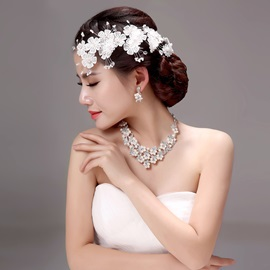 Floral Lace Alloy Wedding Jewelry Sets (Including Hair Flowers, Earrings, and Necklace)