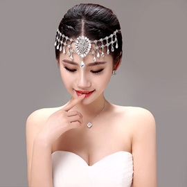 Eye-catching Shiny Rhinestone Alloy Wedding Jewelry Sets (Including Headwear, Earrings, and Necklace)
