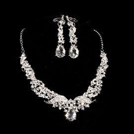 Chic Wedding Jewelry Set (Including Necklace and Earrings)