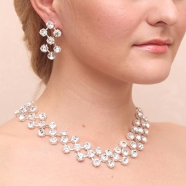 Gorgeous Rhinestone Diamante Alloy Wedding Jewelry Set (Including Necklace and Earrings)