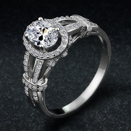 Oval Shape Diamond Decorated 925 Sterling Silver Women's Engagement Ring