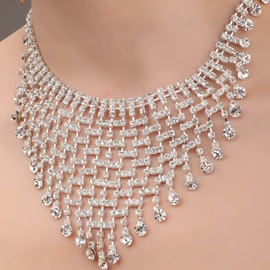 Multilayers Alloy and Rhinestone Necklace-HC