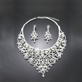 Ring Shaped Alloy with Rhinestone Wedding Jewelry Set(Including Necklace and Earrings)