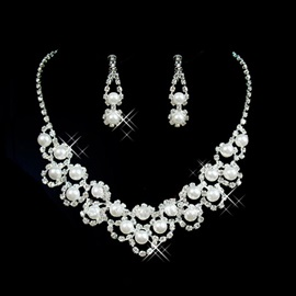 Glamorous Alloy with Pearl Wedding Jewelry Set(Including Necklace and Earrings)