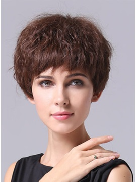 New Custom Best Short Curly Full Lace Hair Wig 100% Remy Human Hair