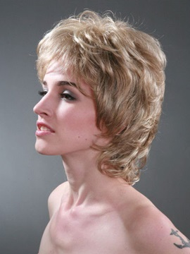 Short Layered Wavy Capless Synthetic Wig 10 Inches