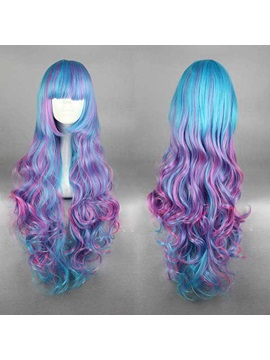 Lovely Long Curly Mixed Color Cosplay Capless Wig