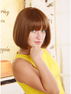 Short Straight Full Bang Bob Hairstyle Capless Synthetic Women Wigs 10 Inches