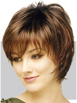 Elegant Silky Straight Wig 100% Human Hair about 8 Inches