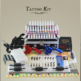 Professional tattoo kit with 2 high quality guns and a LCD power supply