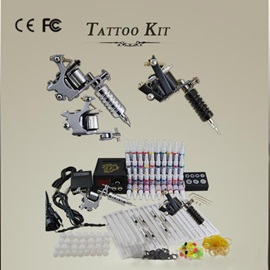 Complete 2 Machines Tattoo Kit 40 Inks Power Grips Tips Needles