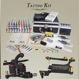 Complete Tattoo Kit with Handmade Rotary Tattoo Machine with LCD Power Pack 40 Inks DIY-117