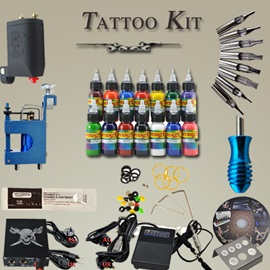 2 Rotary Tattoo Machine Tattoo Kits with 14 Colors Inks Power Supply and Needles