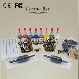 Fine 2 Professional Machines Tattoo Kits with 8 Inks and 3 Disposable Tubes