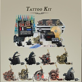 Complete 9 Machines Tattoo Kit 40 Inks Power Supply Grips Tips 50 Needles