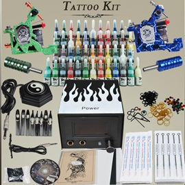 Tattoo Kit 2 Machines Gun 54 Color Inks Power Supply Needles Set Equipment D192