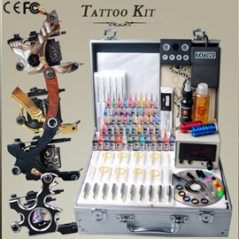 Pro Tattoo Kit with 4 Top Guns 54 Ink Set and Tattoo Power Supply Grip DIY-164