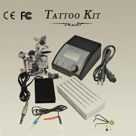 Tattoo Kit with 1 Professional Machine Gun Power Supply Foot Pedal Needles