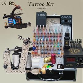 Tattoo kit with 2 Refined Guns 40 Inks needles for Starter