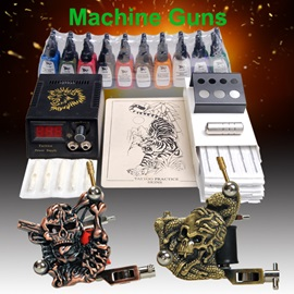 Newest Tattoo Kit with 2 Tattoo Machines 20 Colors Ink Power Needles