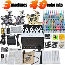 High Quality Tattoo Kit with 3 Tattoo Machines Power Supply and 40 Inks