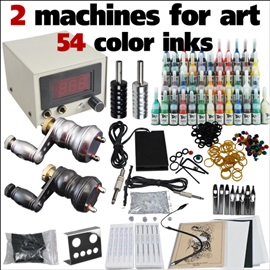 Complete Tattoo kit with 2 Rotary Tattoo Machines Power 54 Inks Needles