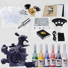 Starter Tattoo Kit with 1 Tattoo Machine MINI Power Supply and Needles