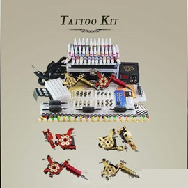 Professional Tattoo Kit with 2 Top Machines & 40 Colors Inks and LCD Power Supply