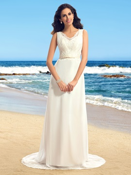 Admirable Lace V-Neck Sleeveless Sweep Train Beach Wedding Dress
