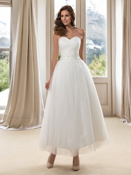 Simple Style Strapless Sweetheart A-Line Ankle-Length Wedding Dress