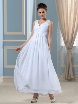 Simple Chiffon V-Neck Beaded Ankle-Length Empire Wedding Dress