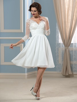 V-Neck 3/4 Sleeve Length Chiffon Knee-Length Short Wedding Dress