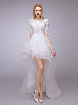 Asymmetry Scoop Neck Short Front Long Back Half Sleeve Beach Wedding Dress