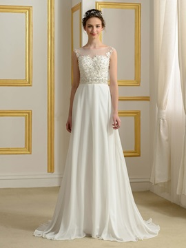 Sheer Bateau Neck Beaded Lace Button Zip-up Ivory Wedding Dress