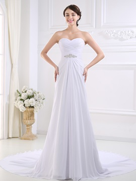 Ruched Sweetheart Ivory Chiffon Beach Wedding Dress
