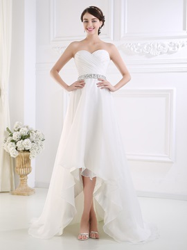 Ruched Sweetheart Beaded Waist High Low Beach Wedding Dress