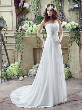 Simple Sweetheart Chiffon Beach Wedding Dress