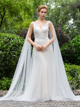 Attractive V Neck Flower Sheath Wedding Dress