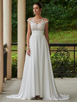 Sexy Scoop Lace Chiffon Beach Wedding Dress