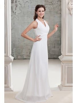 Amazing Slim A-Line Draped Chest Halter Sandra's Wedding Dress