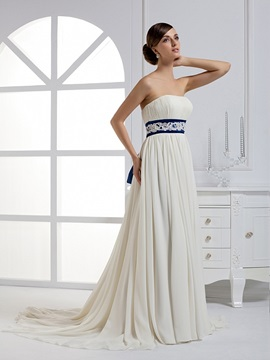 Elegant A-line Strapless Floor-length Sashes Court Train Wedding Dress